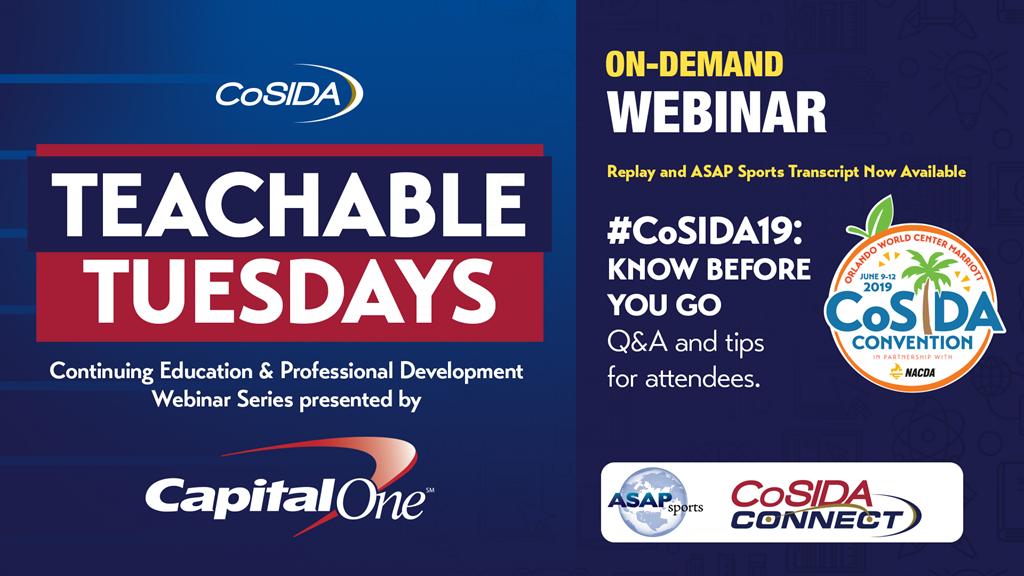ON DEMAND Capital One Webinar: #CoSIDA19 Convention Know