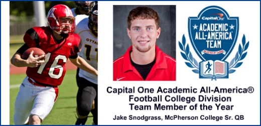 Jake Snodgrass- 2011 Football Coll Div AAA of Year