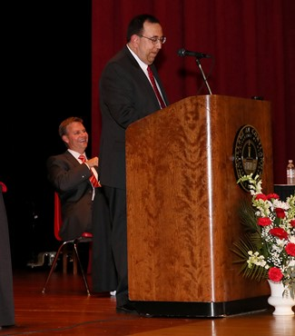 Serving as emcee at a recent SUNY Cortland Athletics Hall of Fame event.