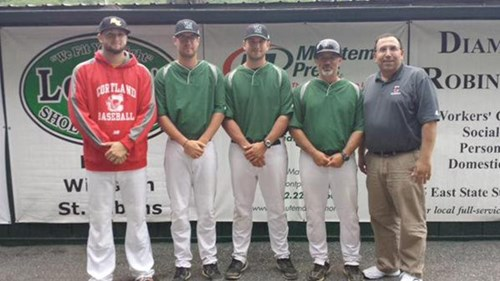 Travis Laitar (North Adams), Travis Ratliff, Max Rosing & Joe Brown (Vermont) and Elia at a New England Collegiate Baseball League Vermont Mountaineers (summer baseball league) game